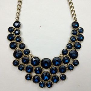 Dazzling Dark Blue Statement Necklace